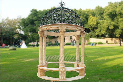 Hand carved round natural stone gazebo for sale
