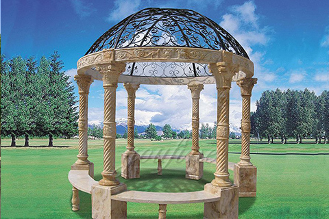 Popular roman column marble carving garden luxury gazebos