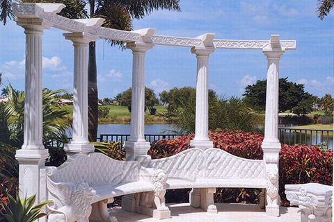 Outdoor garden decorative marble gazebo with bench