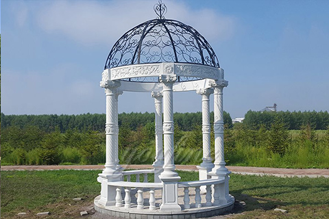 Outdoor Garden Ornament hand carved white stone gazebos