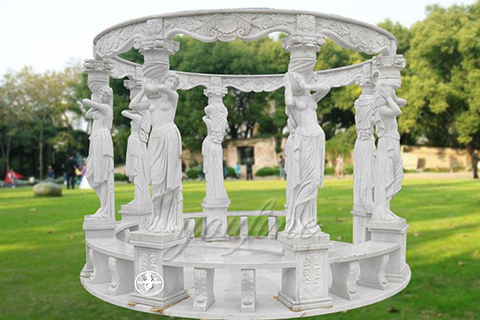Hot sale outdoor white marble gazebo with lady
