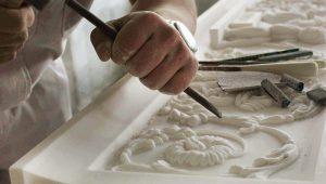 Custom Hand-Carved Fireplace