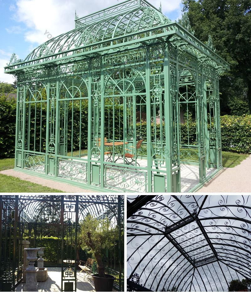 large greenhouse iron gazebo design for outdoor decoration