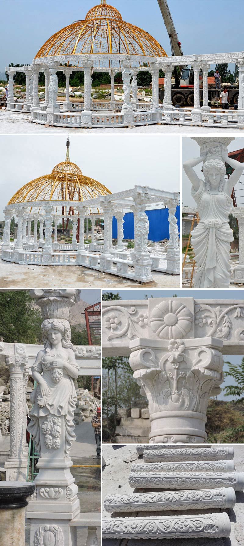 large luxury outdoor custom white marble gazebo designs for sale